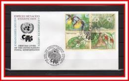 """ONU 1996 (Vienne) FDC En Relief """" ESPECES VEGETALES MENACEES D´EXTINCTION """" N° 225 à 228 - Orchidées"""