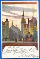 Deutschland; München; Marienplatz; Künstlerkarte Kley; 1898 - München