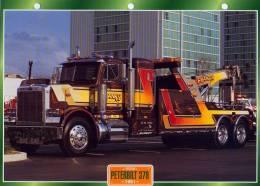 FICHE CARTONNE 25x18.5 CM CAMION DOC.AU DOS VOIR SCAN SERIE PORTEUR 1991 PETERBILT 378 - Camions
