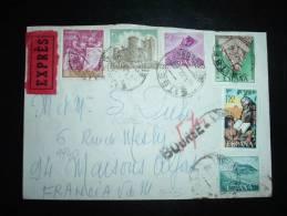 LETTRE EXPRES ESPAGNE FRANCE 1969 PASSEE PAR SERVICE DES PNEUMATIQUES + RARE GRIFFE BOURSE - 1961-....