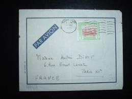 LETTRE PAR AVION POUR FRANCE TP 5P OBL. MECA. 21 MAY 1954 KHARTOUM + PUB MICHELIN - Soudan (1954-...)