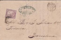 ESPAGNE - 1869 - LETTRE De ZARAGOZA Pour BARCELONA - 1868-70 Gobierno Provisional
