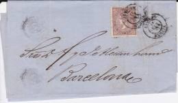 ESPAGNE - 1869 - LETTRE De AGUILAS (MURCIA) Pour BARCELONA - 1868-70 Gobierno Provisional