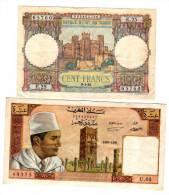 Deux Billets Cent Francs Et 10 Dirhams 1950 Et  1969 - Maroc