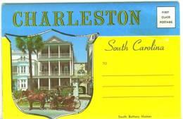 Amérique Etats Unis  Greetings  From Charleston  Carnet Dépliant De 14 Cartes Anciennes  Non Utilisé Rare  TBE - Charleston