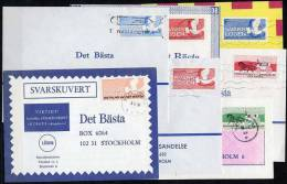SWEDEN 1968 - 1970 Reply Postage Labets  Used On Covers (7).  Michel 2-7A Cat. €33 Off Cover - Sweden