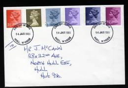 Great Britain 1981, Letter / Cover, Definitive Values With First Day Cancel, HULL, N´HSIDE - 1952-.... (Elizabeth II)