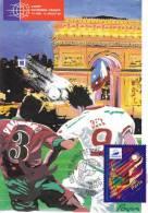 CPSM COUPE DU MONDE DE FOOTBALL PARIS ARC TRIOMPHE TIMBRE 1 ER JOUR MAXIMUM 31 05 97 - Football