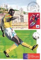 CPSM COUPE DU MONDE DE FOOTBALL LYON TRIOMPHE TIMBRE 1 ER JOUR MAXIMUM 31 05 97 - Football