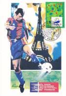 CPSM COUPE DU MONDE DE FOOTBALL 98  PARIS TOUR EIFFEL TIMBRE 1 ER JOUR MAXIMUM 12 12 95 - Football