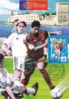 CPSM COUPE DU MONDE DE FOOTBALL 98  MARSEILLE TIMBRE 1 ER JOUR MAXIMUM 31 05 97 - Football