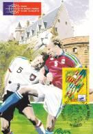 CPSM COUPE DU MONDE DE FOOTBALL 98 NANTES TIMBRE 1 ER JOUR MAXIMUM 31 05 97 - Football