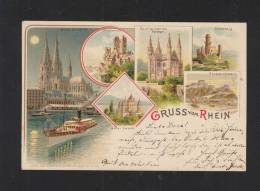 Litho-AK Gruß Vom Rhein 1897 - Köln