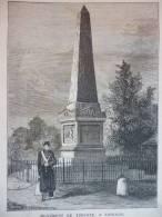 Monument De Turenne A Sasbach , Gravure De Hauger Hennequin 1874 - Documents Historiques
