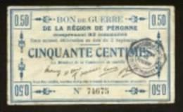MONNAIE BILLET BON COMMUNAL CARTON 50 CENTIMES BON DE GUERRE PERONNE SOMME 80200 RO Et VO 5 SIGNATURES N°74675 - 2 SCANS - Bons & Nécessité