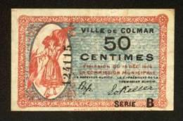 MONNAIE BILLET BON COMMUNAL CARTON 50 CENTIMES VILLE DE COLMAR  68000 RECTO VERSO 2 SIGNATURES SERIE B 124115 - 2 SCANS - Bons & Nécessité