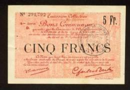 MONNAIE BILLET BON COMMUNAL 5 FRANCS DOUAI 59500 ET CARVIN 62220 RECTO VERSO 2 SIGNATURES N°291.792 NORD Et P De CALAIS - Buoni & Necessità