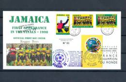 FRANCE CHAMPION DU MONDE 1998 FOOTBALL TIRAGE LIMITEE 1 à 10 N° 02 JAMAICA RARRE PORT GRATUIT - Errors & Oddities