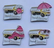 Lot De 4 Pin's WOREX - Camion Citerne De Fioul - Les Quatres Saisons - B1099 - Fuels