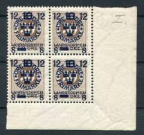1918 Sweden Landstorm 12ore Overprint Unmounted Mint Marginal Block Of 4 - Suède