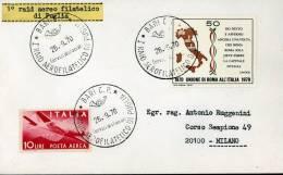 1° RAID AEREO FILATELICO DI PUGLIA BARI BRINDISI TARANTO 1970 ANN SPEC - 6. 1946-.. Repubblica