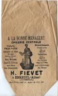 """03 - EBREUIL Sachet  """"A La Bonne Ménagère\\\"""" Epicerie Centrale  -H. FIEVET - Andere Verzamelingen"""