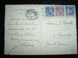 CP TP MERCURE 10C + 20C + PAIX 50 SUR 90C OBL. MECA. 18 VII 1941 TOULOUSE GARE (31 HAUTE-GARONNE) - Marcophilie (Lettres)