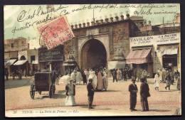 CPA  ANCIENNE- TUNISIE- TUNIS- LA PORTE DE FRANCE AVEC TRES BELLE ANIMATION COULEUR- ATTELAGE- PAVILLON DES FLEURS- GATA - Tunisia