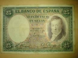 25 Pesetas Vicente Lopez 1931 - [ 2] 1931-1936 : Republiek