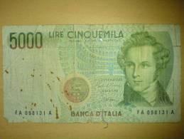 5000 Lire V. Bellini 1985 - [ 2] 1946-… : République