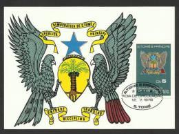 Sao Tome Et Principe Carte Maximum 1978 Armoirie 3ème Anniv. Indépendance St Thomas And Principe Coat Of Arms Maxicard - São Tomé Und Príncipe