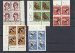 1955 Viererblocks Postfrisch Mit Teilweise TAPS - Nuovi
