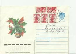 LITHUANIA  1992 – PRESTAMPED COVER  CHRISTMAS VASE OF 5 C (1988) + 5 STS :2 OF 4 K (1966)+3 OF 3 K (1976) VILNIUS – POST