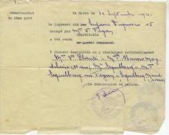 """Certificat  Logement Rendu Inhabitable """"commissariat De Police 4°arrond.-le Havre """" Au Verso Cachet Mairie Havre - Historische Documenten"""