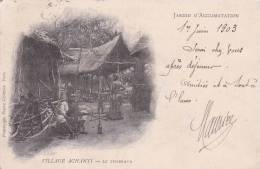 Belle CPA PARIS 75 : Jardin D´acclimatation Village ACHANTI - Le Tisserand ( Datée 1903 ) - Expositions