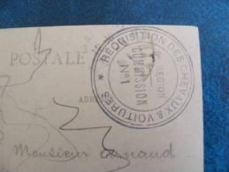 CACHET REQUISITION DES CHEVAUX & VOITURES..9e REGION..COMMISSION N° 1..SUCRERIE BALSAN CHATEAUROUX - Marcofilie (Brieven)