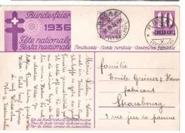 ENTIER POSTAL 1936 FETE NATIONALE AVEC AFFRANCHISSEMENT COMPLEMENTAIRE - Entiers Postaux