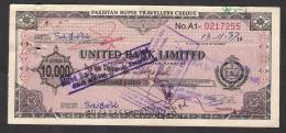PAKISTAN RUPEE TRAVELLERS CHEQUE Rs. 10,000 United Bank Limited - Bank & Insurance