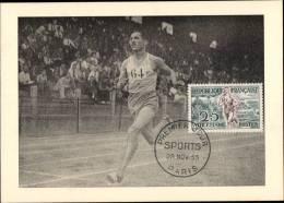 N°961 SUR CARTE POSTALE  / ATHLETISME , ARRIVEE D´UNE COURSE DE FOND / 1er JOUR DU 28.11.1953 - Cartes-Maximum