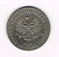 POLEN  20 ZLOTYCH  MARCELI  NOWOTKO  1976 - Polen