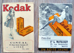 Lot 2x Publicité Pochette Cousue Photo Ancienne Kodak Cineal Place Neujean Liege  Pin Up Femme Velox + Negatif - Reclame