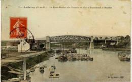 78-ANDRESY-Le Pont -Viaduc Du Chemin De Fer D´Argenteuil à Mantes (Péniches).couleur Toilée - Andresy