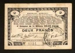 MONNAIE BILLET BON COMMUNAL EMPRUNT GARANTI 70 COMMUNES 80, 62, 59... 2 FRANCS - N° 4851 SOMME, PAS DE CALAIS, NORD... - Bonds & Basic Needs