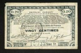 MONNAIE BILLET BON COMMUNAL EMPRUNT GARANTI 70 COMMUNES 80, 62, 59... 20 CENT. - N° 15032 -SOMME, PAS DE CALAIS, NORD... - Bonds & Basic Needs
