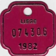 Plaque De VELO  -  Province De LIEGE  -  1982 - Cyclisme