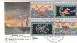 ISOLE MARSHALL 1984 FDC - INAUGURAZIONE DEL SERVIZIO POSTALE - BLOCCO - Marshall