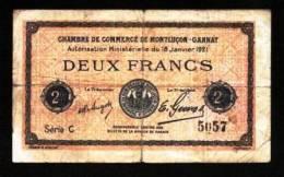 BON BILLET MONNAIE CHAMBRE DE COMMERCE 03 ALLIER MONTLUÇON GANNAT 2 FRANCS N°5057 SÉRIE C VENDU EN L'ETAT SCANS Serbon63 - Chambre De Commerce