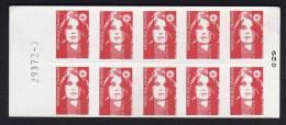 Faux Carnet Type Marianne De Briat  10 Timbres  TVP Rouge   N°2807 C2   Sans Bandes De Phosphore - Carnets