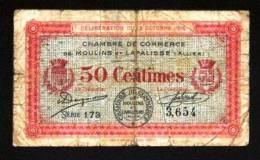 BON-BILLET-MONNAIE-CHAMBR E DE COMMERCE 03 MOULINS LAPALISSE ALLIER 50 CENTIMES N°3654 SERIE 178 VENDU EN L'ETAT 2 SCANS - Chambre De Commerce