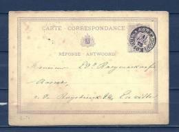 Nr 28 Op Carte Correspondance Van Bruxelles (Nord) Naar Ruysbroeck 11/07/1873 - NIPA 40 Fr (GA5738) - Entiers Postaux